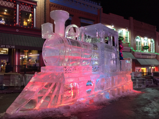 Train carved out of ice