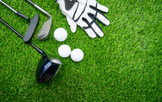 Golf clubs balls and glove