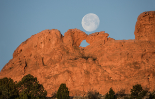 Full Moon over Kissing Camels mountain colorado